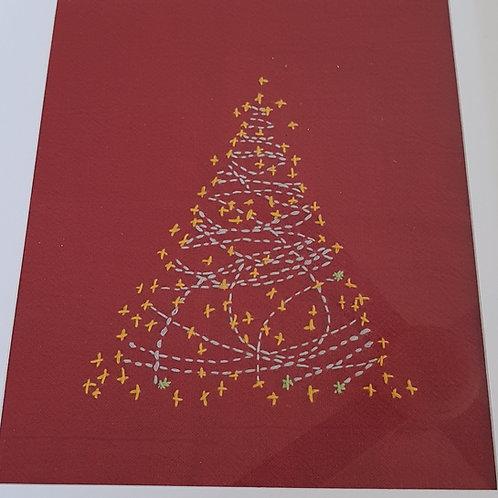 Small Christmas tree panel red
