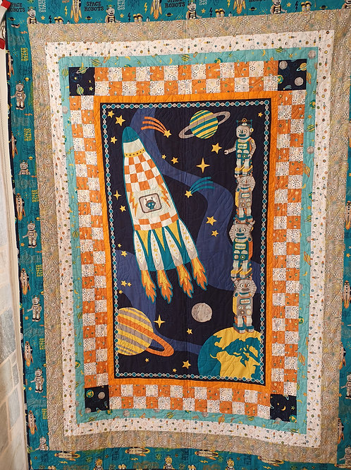 Robots in space quilt kit