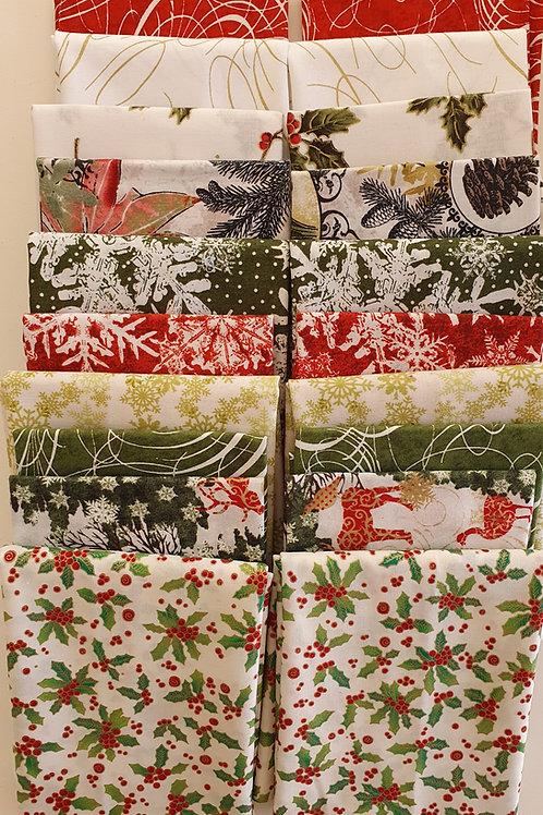 Mystery quilt kit festive fabrics deer