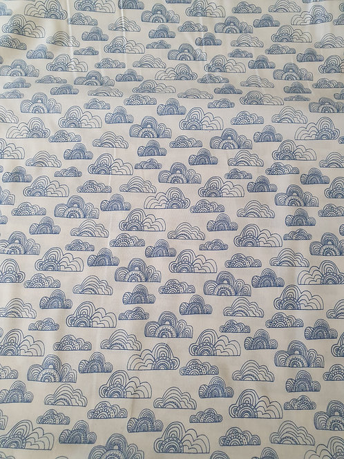 Jungle fever fabric clouds blue on white background