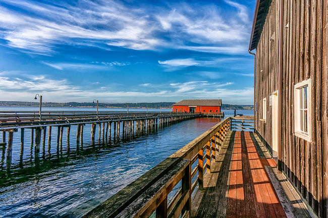 View of picturesque Coupeville Wharf on
