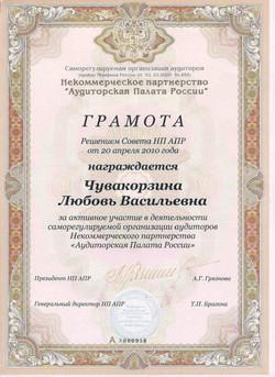 Грамота СРО НП АПР_2010