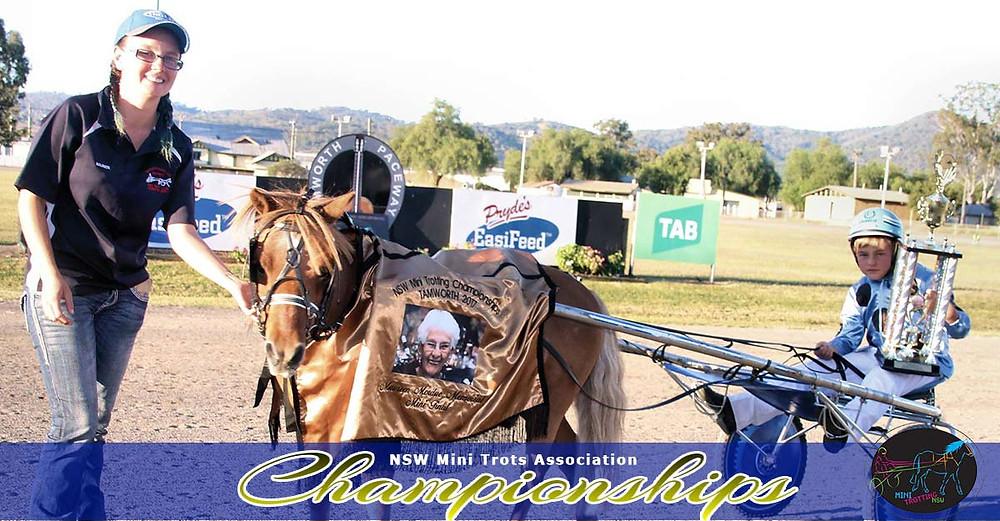 Winner Maureen Mordue Memorial Midget Division Chesters Lad driver Charlie Harris attendant Ashleigh Jackson. NSW Mini Trots Championships 2017.
