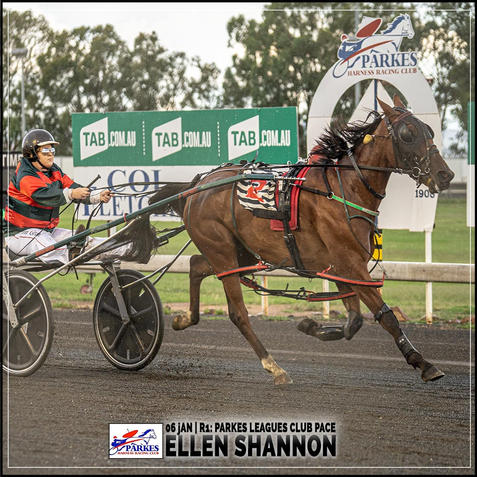 ELLEN SHANNON, driven by Kimberley Grant, wins at Parkes Trots