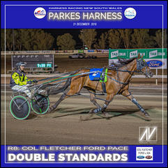 PARKES HARNESS - Race 8 - COL FLETCHER FOR & KIA PACE - DOUBLE STANDARDS wins at Parkes Trots