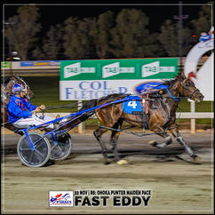 FAST EDDY, driven by Jason Turnbull, wins at Parkes Harness