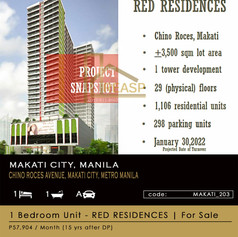 1  Bedroom Unit For Sale location Red Residences Makati City, Metro Manila