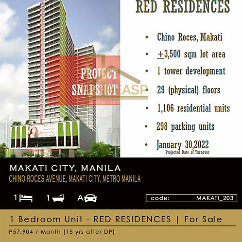 1 Bedroom Unit for sale - SM RED Residences - Makati City, Metro Manila