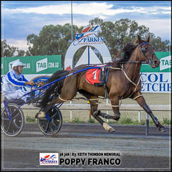 POPPY FRANCO, driven by Andrew Cassell, wins at Parkes Trots