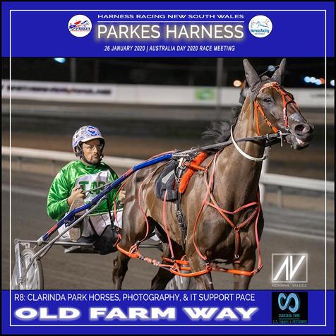 PARKES HARNESS AUSTRALIA DAY - Race 8 - CLARINDA PARK PACE - Old Farm Way wins at Parkes Trots.