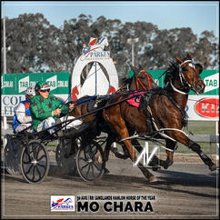 MO CHARA, driven by Robert Harris, wins at Parkes Trots last 30 August 2020