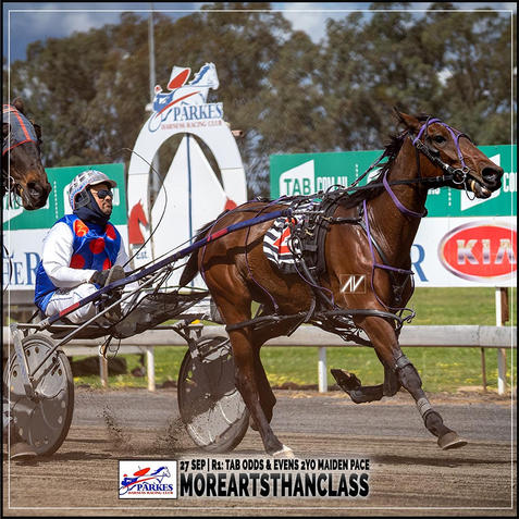 MOREARTSTHANCLASS, driven by Brett Hutchings, wins at Parkes Harness
