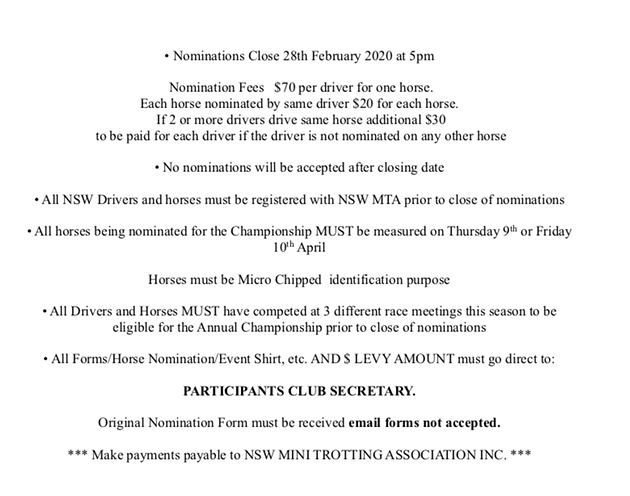The NSW Mini Trots Championships 2020