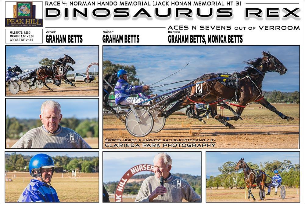 Peak Hill Harness Racing Club Race 4 - NORMAN HANDO MEMORIAL (JACK HONAN MEMORIAL HT3) Horse: DINOSAURUS REX Driver: Graham Betts Trainer: Graham Betts Owners: Graham Betts, Monica Betts