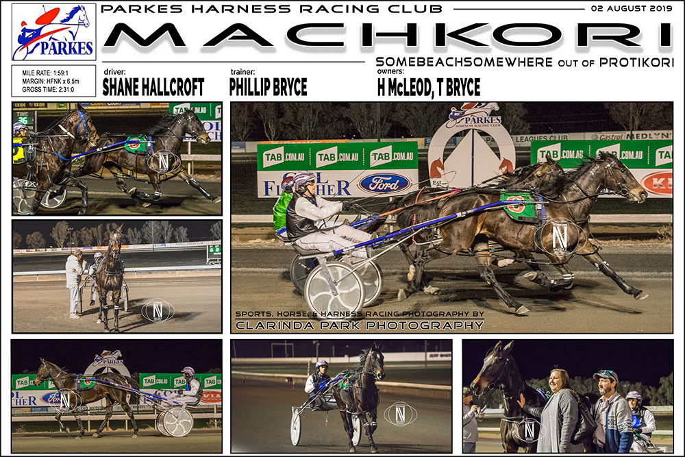 MACHKORI Wins at Parkes Harness Racing Club. Trainer: Phillip Bryce. Driver: Shane Hallcroft. Owner: H McLeod, T Bryce