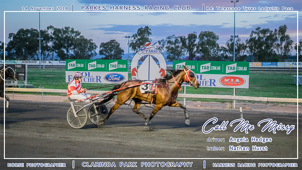 Parkes Harness | 14 November 2018 | Race 4 Telescope Tyres Ladyship Pace winner | Call Me Missy | Harness Racing Photos | Horse Photographer | Clarinda Park Photography