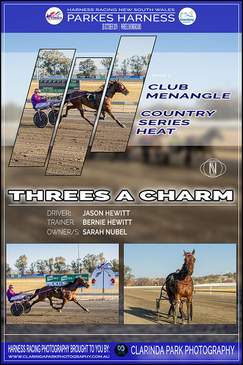 THREES A CHARM wins at Parkes Harness trots