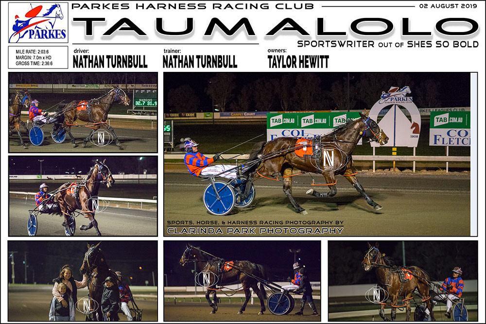TAUMALOLO Wins at Parkes Harness Racing Club. Trainer: Nathan Turnbull. Driver: Nathan Turnbull. Owner: Taylor Hewitt