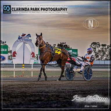 26 OCTOBER 2019 - Parkes Harness Racing Club Race Meeting - IM ALL STARZZZ driven by Nathan Turnbull, trained by Aaron Williams, and own by Casey Williams.