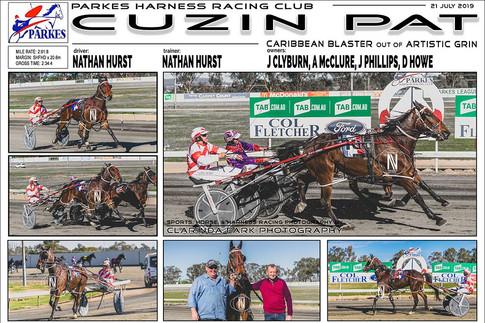 CUZIN PAT  wins at Parkes Harness Trots