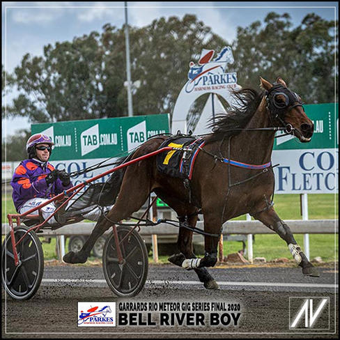 2020 RIO METEOR GIG SERIES Winner BELL RIVER BOY, driven by Dough Hewitt trained by Josh Turnbull