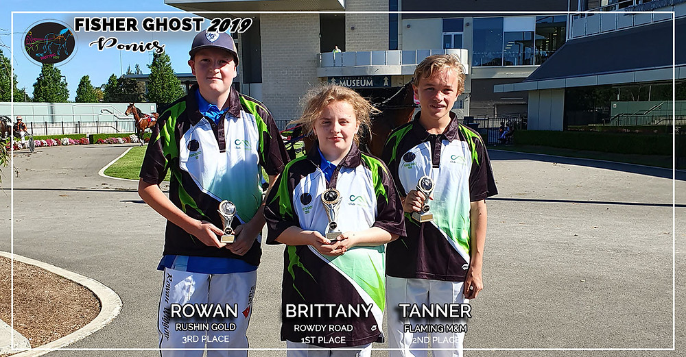 NSW Mini Trots Fishers Ghost 2019 - Ponies Division Winners: 1st Brittany and Rowdy Road, 2nd Tanner and Flaming M&M, 3rd Rowan and Rushin Gold