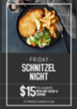Parkes Leagues Club Friday Schnitzel Night