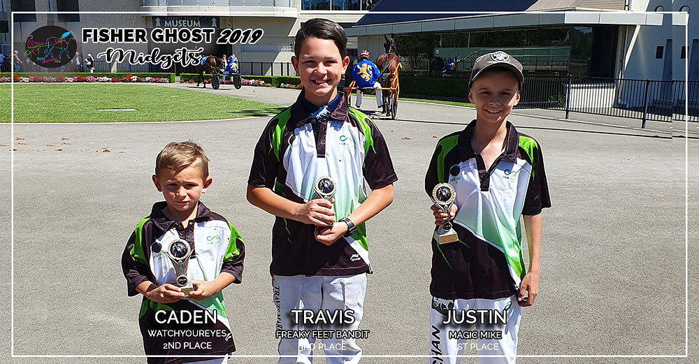 NSW Mini Trots Fishers Ghost 2019 - Midget Winners: 1st Justin and Magic Mike, 2nd Caden and Watchyoureyes, 3rd Travis and Freaky Feet Bandit