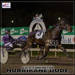 HURRIKANE DUDE, driven by Mark Hewitt , won at the Parkes Trots