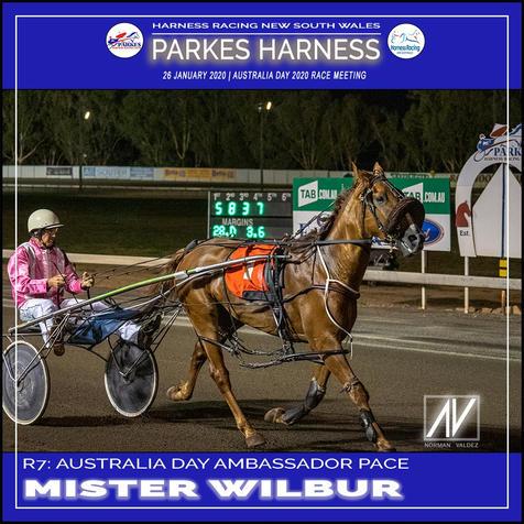 PARKES HARNESS AUSTRALIA DAY - Race 7 - AUSTRALIA DAY AMBASSADOR PACE - MISTER WILBUR wins at Parkes Trots.
