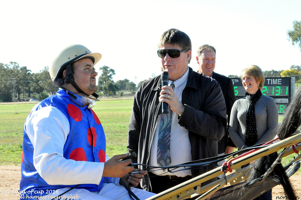 Sue Dean, owner,trainer, driver of Homestead Lad, Winner of Race 3 Peak Hill HRC CoC