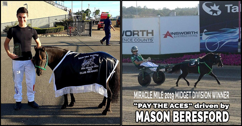 NSW Mini Trots Miracle Mile 2019 Midget Division Winner - PAY THE ACES driven by Mason Beresford