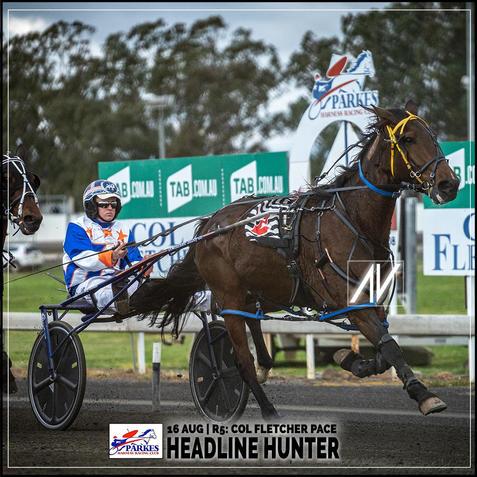 HEADLINE HUNTER, driven by Justin Reynolds, wins at Parkes Trots last 16 August 2020