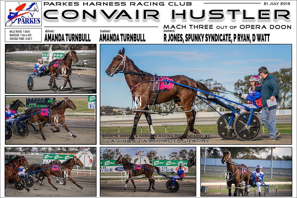 CONVAIR HUSTLER Wins at Parkes Harness Racing Club. Trainer: Amanda Turnbull. Driver: Amanda Turnbull. Owner: R Jones, Spunky Syndicate, P Ryan, D Watt
