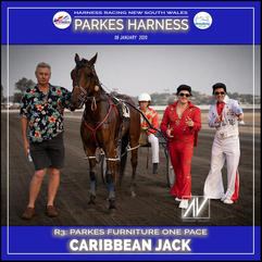 PARKES HARNESS - Race 3 - PARKES FURNITURE ONE PACE - CARIBBEAN JACK  wins at Parkes Trots.