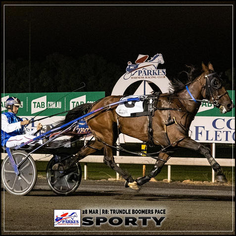 SPORTY  wins at the Parkes Trots