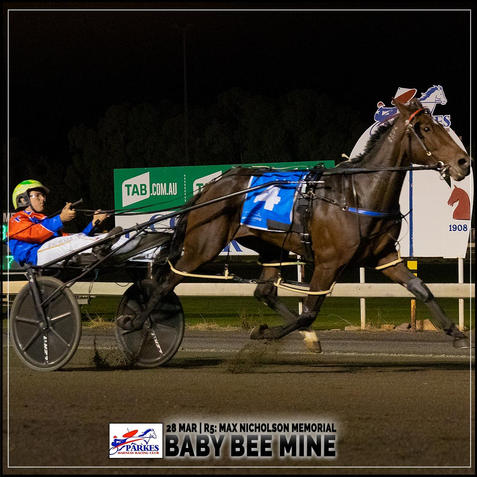 BABY BEE MINE  wins at the Parkes Trots