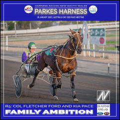 PARKES HARNESS AUSTRALIA DAY - Race 5 - COL FLETCHER FORD PACE - FAMILY AMBITION wins at Parkes Trots.