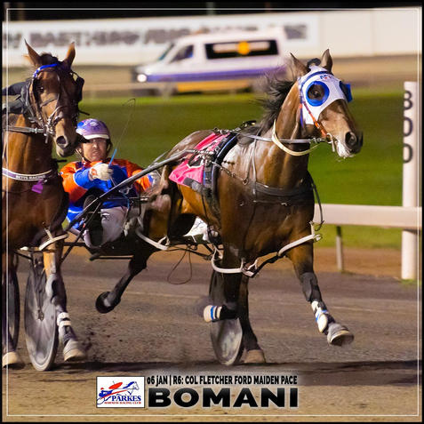 BOMANI, driven by Nathan Turnbull, wins at Parkes Trots