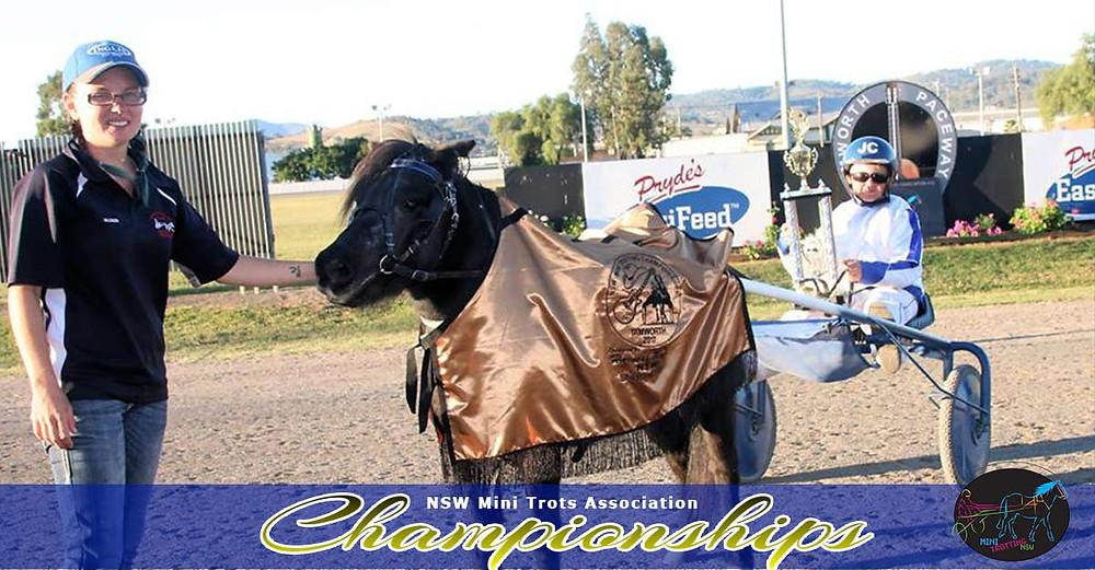 HRNSW Shetland winners Bobby Bouche driver Jimmy Cunningham Attendant Ashleigh Jackson. NSW Mini Trots Championships 2017.