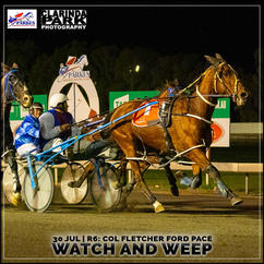WATCH AND WEEP, driven by Malcolm Hutchings, won at the Parkes Trots.