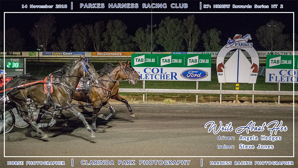 Parkes Harness | 14 November 2018 | Race 7 HRNSW Rewards Series Heat 2 winner | Write About Her | Harness Racing Photos | Horse Photographer | Clarinda Park Photography