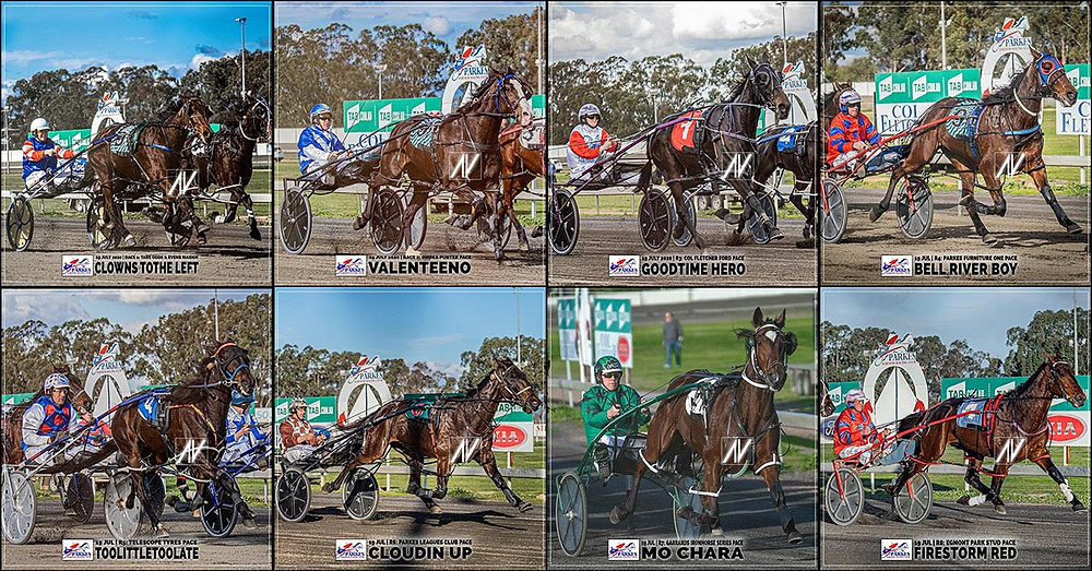 PARKES HARNESS Racing Club winners on 19 July 2020: CLOWNS TOTHE LEFT - VALENTEENO - GOODTIME HERO - BELL RIVER BOY - TOOLITTLETOOLATE - CLOUDIN UP - MO CHARA - FIRESTORM RED
