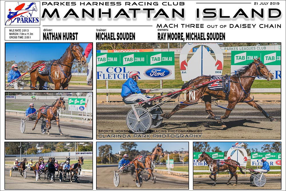 Manhattan Island Wins at Parkes Harness Racing Club. Trainer: Michael Souden. Driver: Nathan Hurst. Owner: Ray Moore, Michael Souden