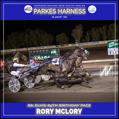 PARKES HARNESS - Race 8 - ELVIS 85TH BIRTHDAY PACE - RORY MCLORY wins at Parkes Trots.