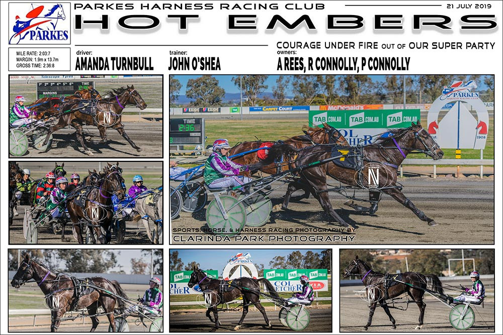 HOT EMBERS Wins at Parkes Harness Racing Club. Trainer: John O'Shea. Driver: Amanda Turnbull. Owner: A Rees, R Connolly, P Connolly