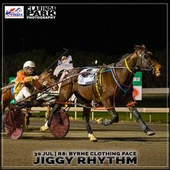 JIGGY RHYTHM, driven by Arthur Clancy, won at the Parkes Trots.