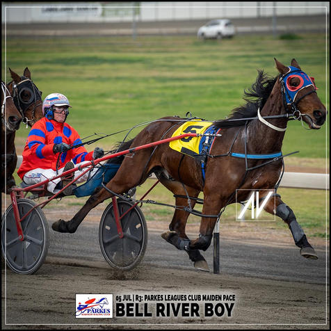 BELL RIVER BOY, driven by Steve Turnbull, wins at the Parkes Trots last 05 July 2020.