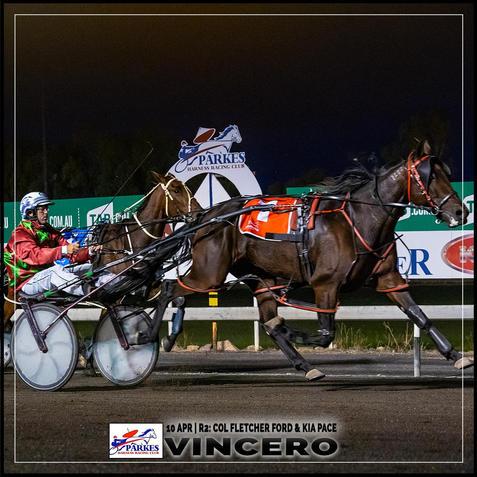 VINCERO, driven by John O'Shea, won at the Parkes Trots