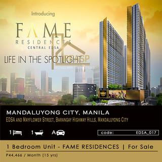 1 Bedroom Unit for sale at SM Fame Residences (EDSA)